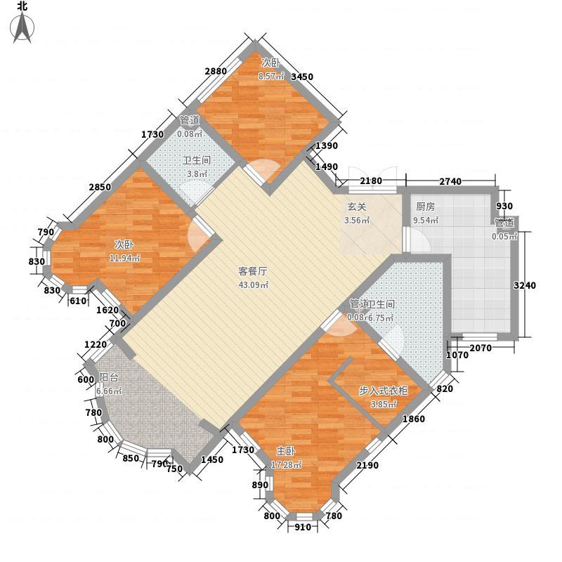盛世名筑二期136.51㎡D1户型3室2厅2卫1厨