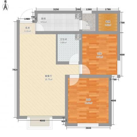 椰岛滨海国际公寓2室1厅1卫1厨89.00㎡户型图