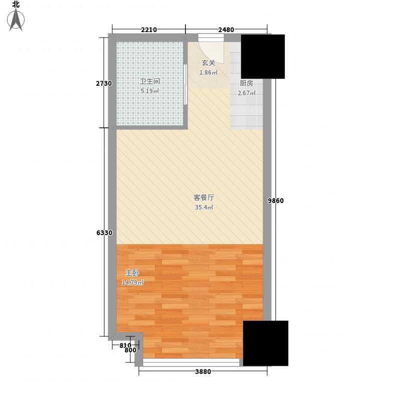万达广场公寓57.70㎡C2户型1室1厅1卫1厨