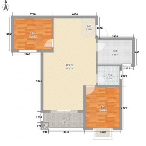 兴旺小区2室1厅1卫1厨100.00㎡户型图