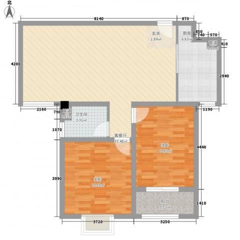 和信花园2室1厅1卫1厨104.00㎡户型图