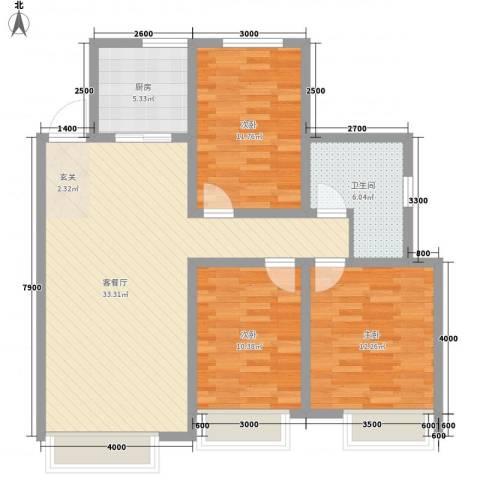 宾果703室1厅1卫1厨113.00㎡户型图