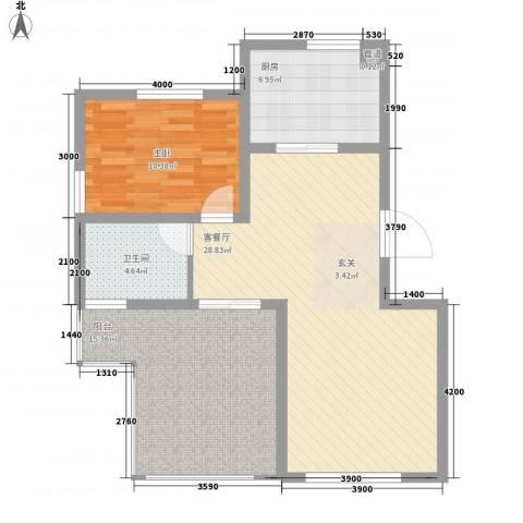 凭海临风1室1厅1卫1厨94.00㎡户型图