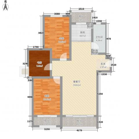 第九街区3室1厅1卫1厨124.00㎡户型图
