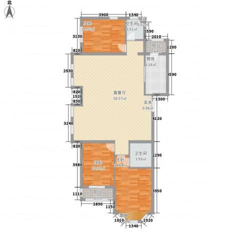 君正・红石云顶花苑3室1厅2卫1厨144.00㎡户型图