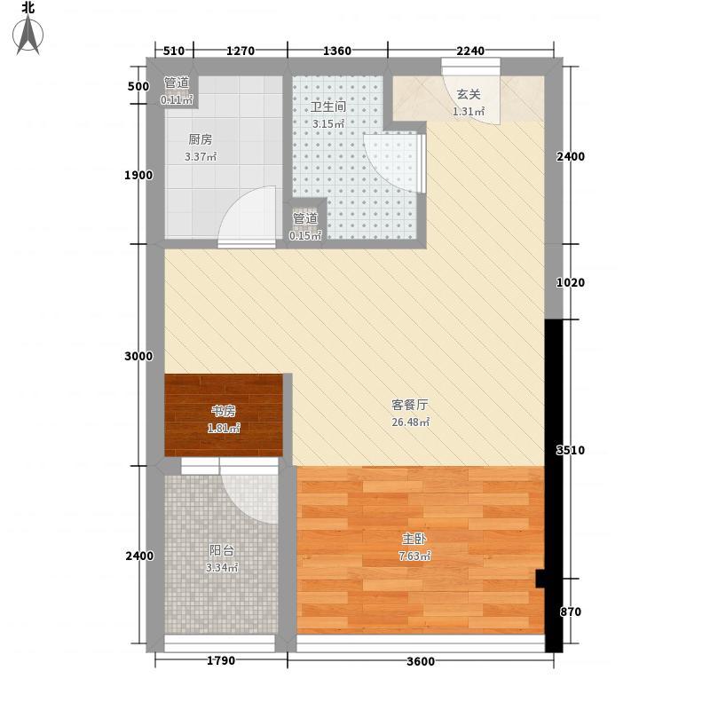 国子间4.27㎡A户型1室1厅1卫1厨