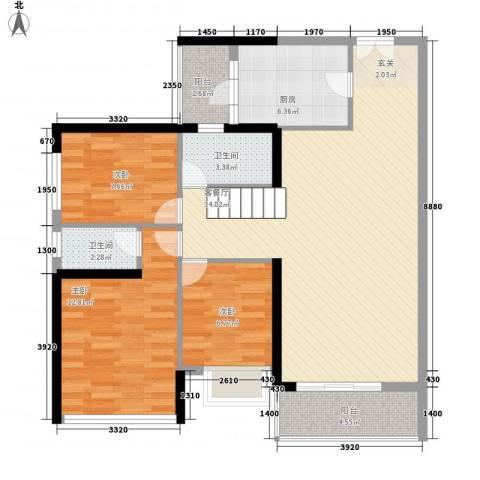 金宇名都3室1厅2卫1厨114.00㎡户型图