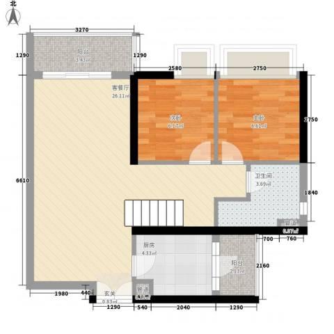 金宇名都2室1厅1卫1厨76.00㎡户型图