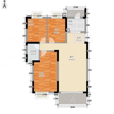 汇林阁3室1厅1卫1厨126.00㎡户型图