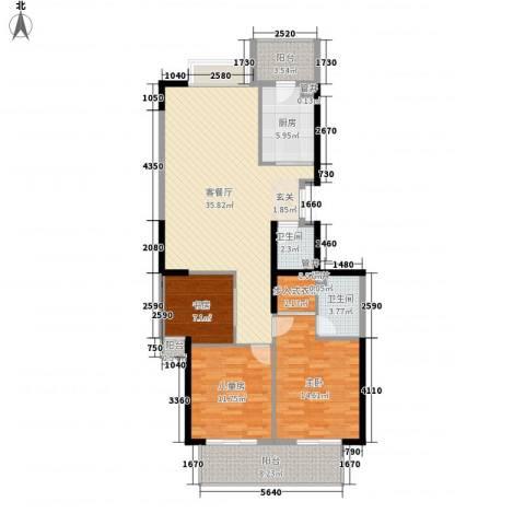 蔚蓝国际3室1厅2卫1厨147.00㎡户型图