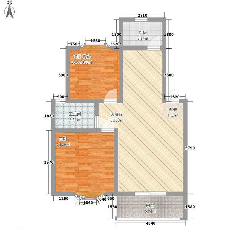 华申昭州鑫城87.85㎡2期E户型2室2厅2卫1厨