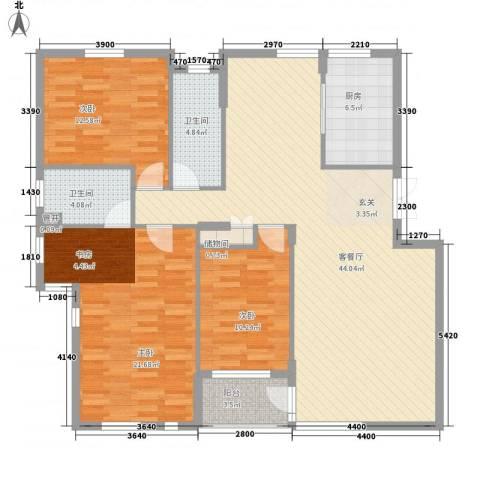 长城都市阳光3室1厅2卫1厨150.00㎡户型图