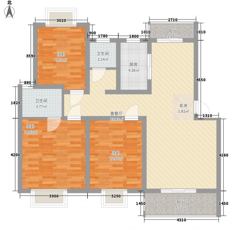 华申昭州鑫城1.75㎡2期D户型3室2厅2卫1厨