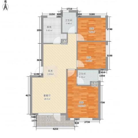 长城都市阳光3室1厅2卫1厨107.00㎡户型图
