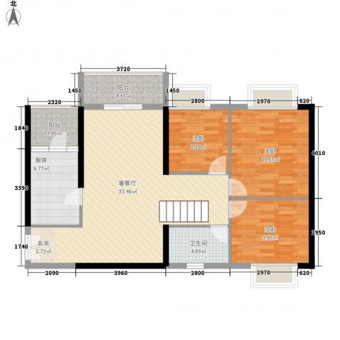 金宇名都3室1厅1卫1厨115.00㎡户型图