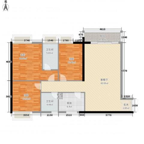 康乐楼3室1厅2卫1厨150.00㎡户型图
