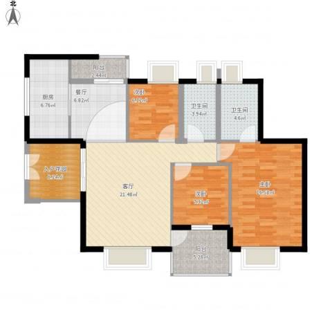 花园小区3室2厅2卫1厨124.00㎡户型图