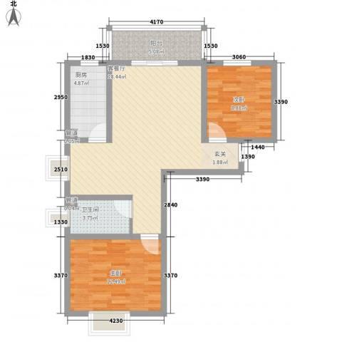 都市怡景三期2室1厅1卫1厨94.00㎡户型图