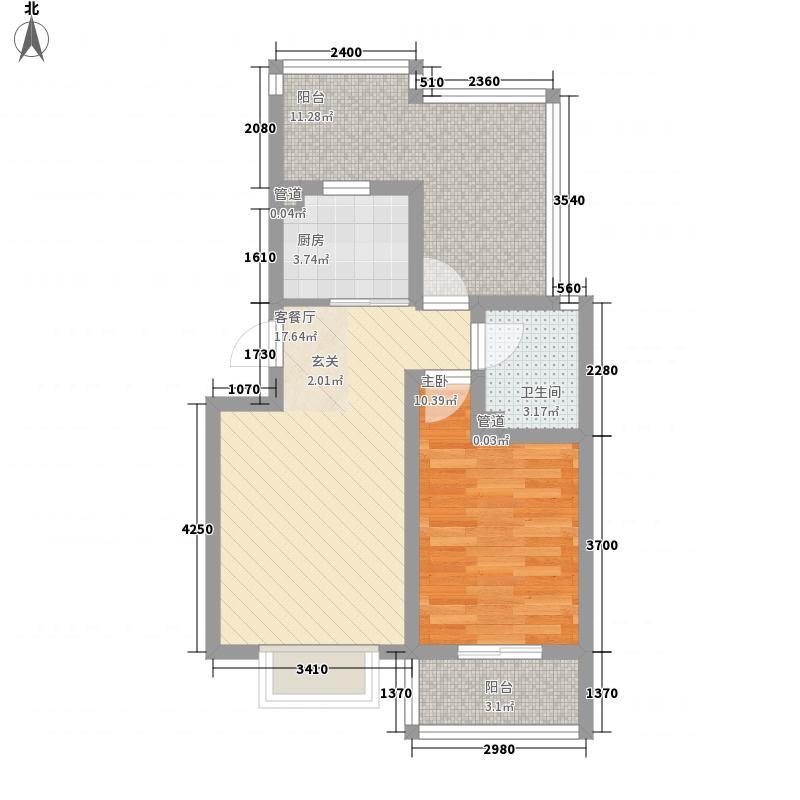 都市怡景三期73.11㎡20号楼甲户型顶层户型1室2厅1卫1厨