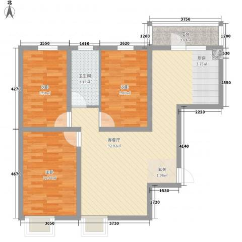 都市怡景三期3室1厅1卫0厨104.00㎡户型图