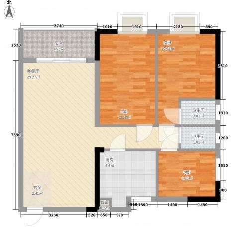 联冠广场3室1厅2卫1厨109.00㎡户型图