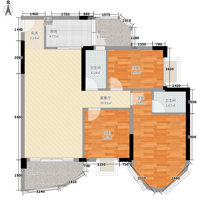 碧水湾14.17㎡第三座04单位(三-十)层平面图户型3室2厅2卫1厨