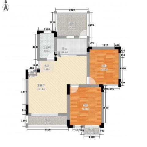 蓉湖山水2室1厅1卫1厨85.00㎡户型图