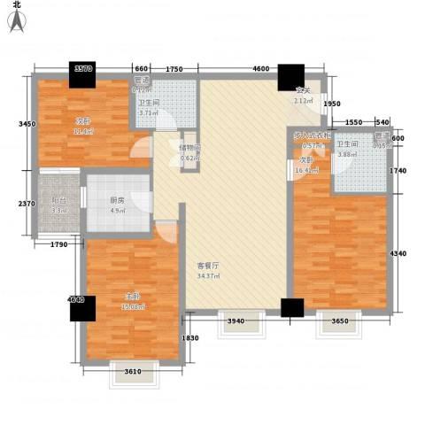东岸未来城3室1厅2卫1厨136.00㎡户型图
