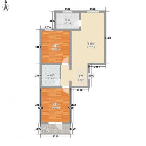 御�华府2室1厅1卫1厨91.00㎡户型图