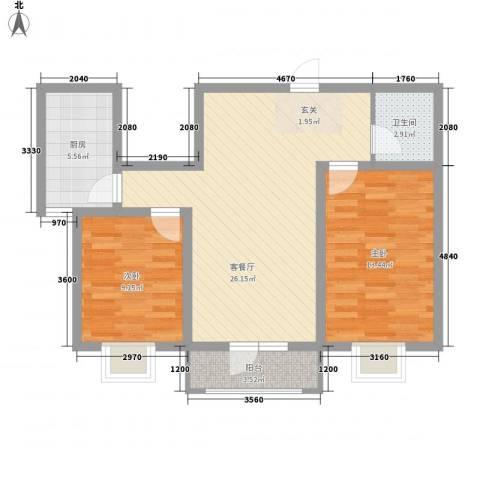 御�华府2室1厅1卫1厨87.00㎡户型图