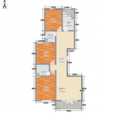 御�华府3室1厅2卫1厨144.00㎡户型图