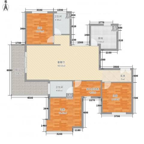 紫薇・花园洲3室1厅2卫1厨119.30㎡户型图