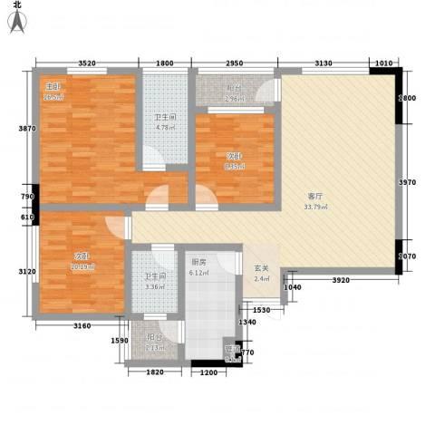 梨树新居3室1厅2卫1厨88.28㎡户型图