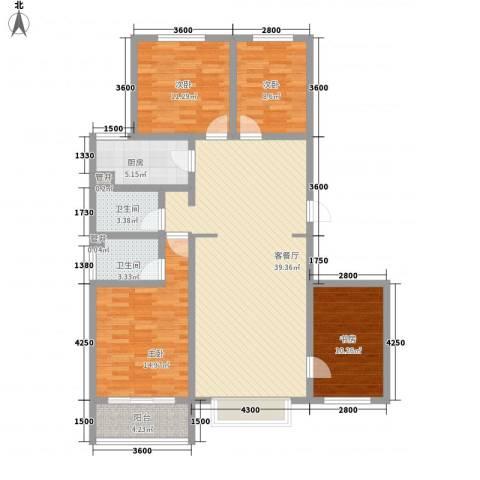 阳光佳苑B区4室1厅2卫1厨152.00㎡户型图