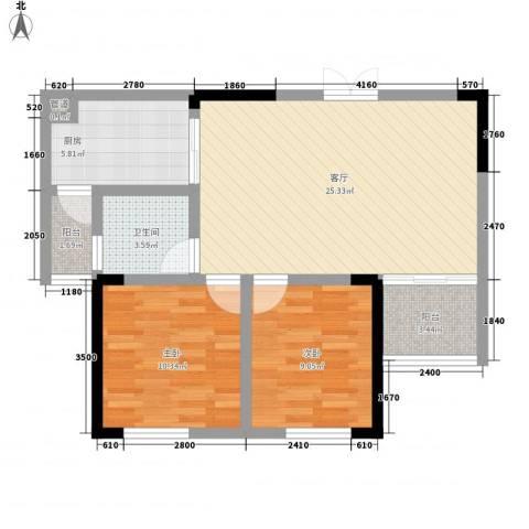 梨树新居2室1厅1卫1厨59.35㎡户型图