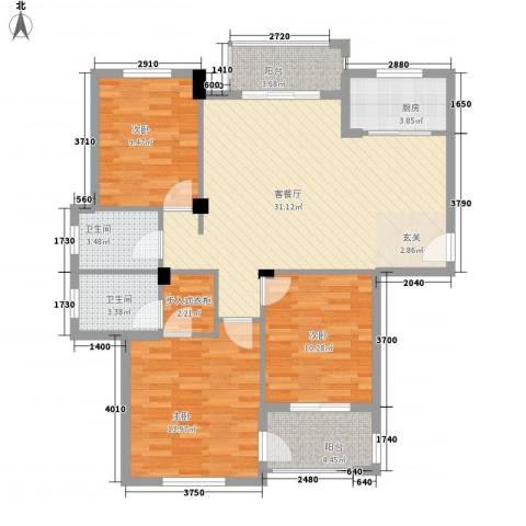 浅水湾蔚蓝水岸3室1厅2卫1厨123.00㎡户型图