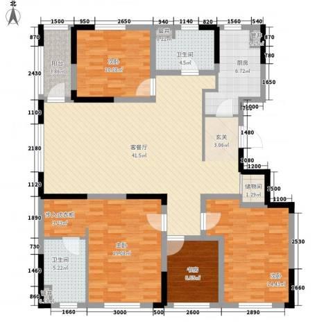 星河传说旗峰天下紫荆苑4室1厅2卫1厨288.00㎡户型图