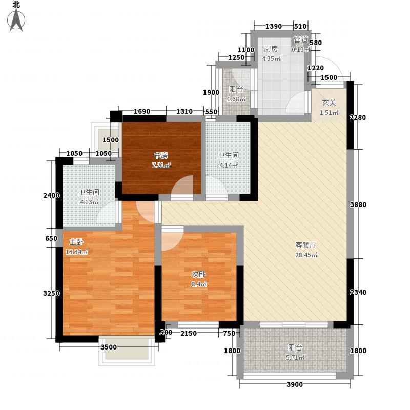银海中心1栋D1户型3室2厅2卫1厨