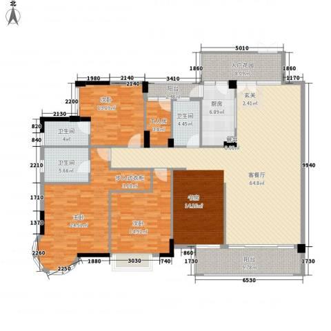 星河传说旗峰天下紫荆苑3室1厅3卫1厨224.00㎡户型图