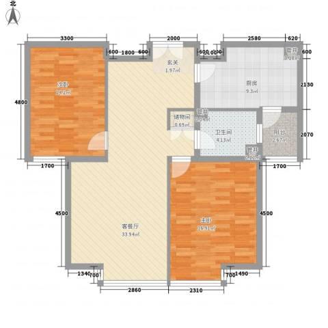星河传说旗峰天下紫荆苑2室1厅1卫1厨116.00㎡户型图