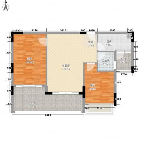 东城商贸花园2室1厅1卫1厨78.00㎡户型图