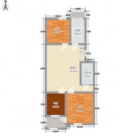碧波园温泉家园3室1厅1卫1厨99.00㎡户型图
