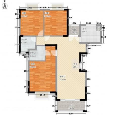 水岸名都3室1厅2卫1厨99.27㎡户型图