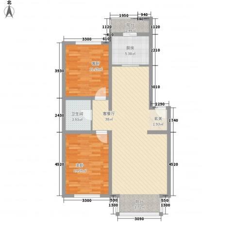 东环雅居花园2室1厅1卫1厨98.00㎡户型图