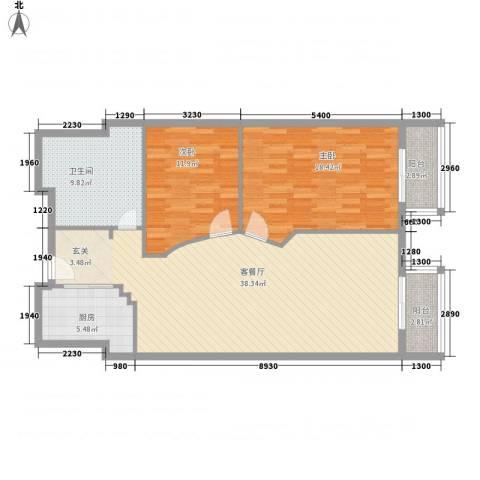 万都阿波罗2室1厅1卫1厨113.00㎡户型图