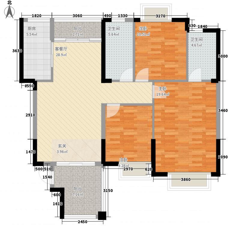 水岸名都12.00㎡D1/J1户型3室2厅2卫