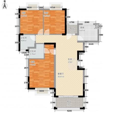 水岸名都3室1厅2卫1厨119.00㎡户型图