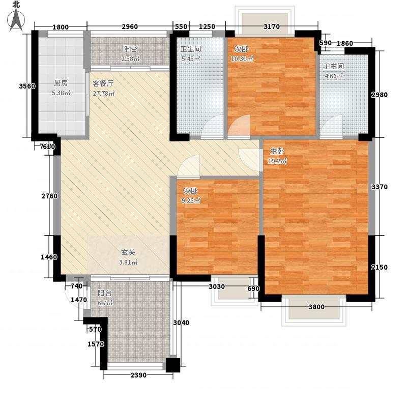 水岸名都120.00㎡水岸名都户型图D1=J13室2厅2卫户型3室2厅2卫