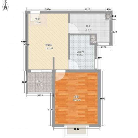润扬广场1室1厅1卫1厨68.00㎡户型图