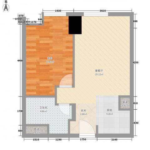 方恒国际中心1室1厅1卫0厨63.00㎡户型图